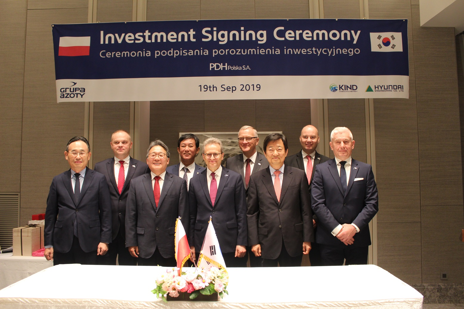 Na podstawie porozumienia Hyundai Engineering i KIND zobowiązują się do zainwestowania, odpowiednio, 73 mln USD i 57 mln USD, poprzez wniesienie wkładów pieniężnych na pokrycie podwyższonego kapitału zakładowego Grupy Azoty Polyolefins S.A.