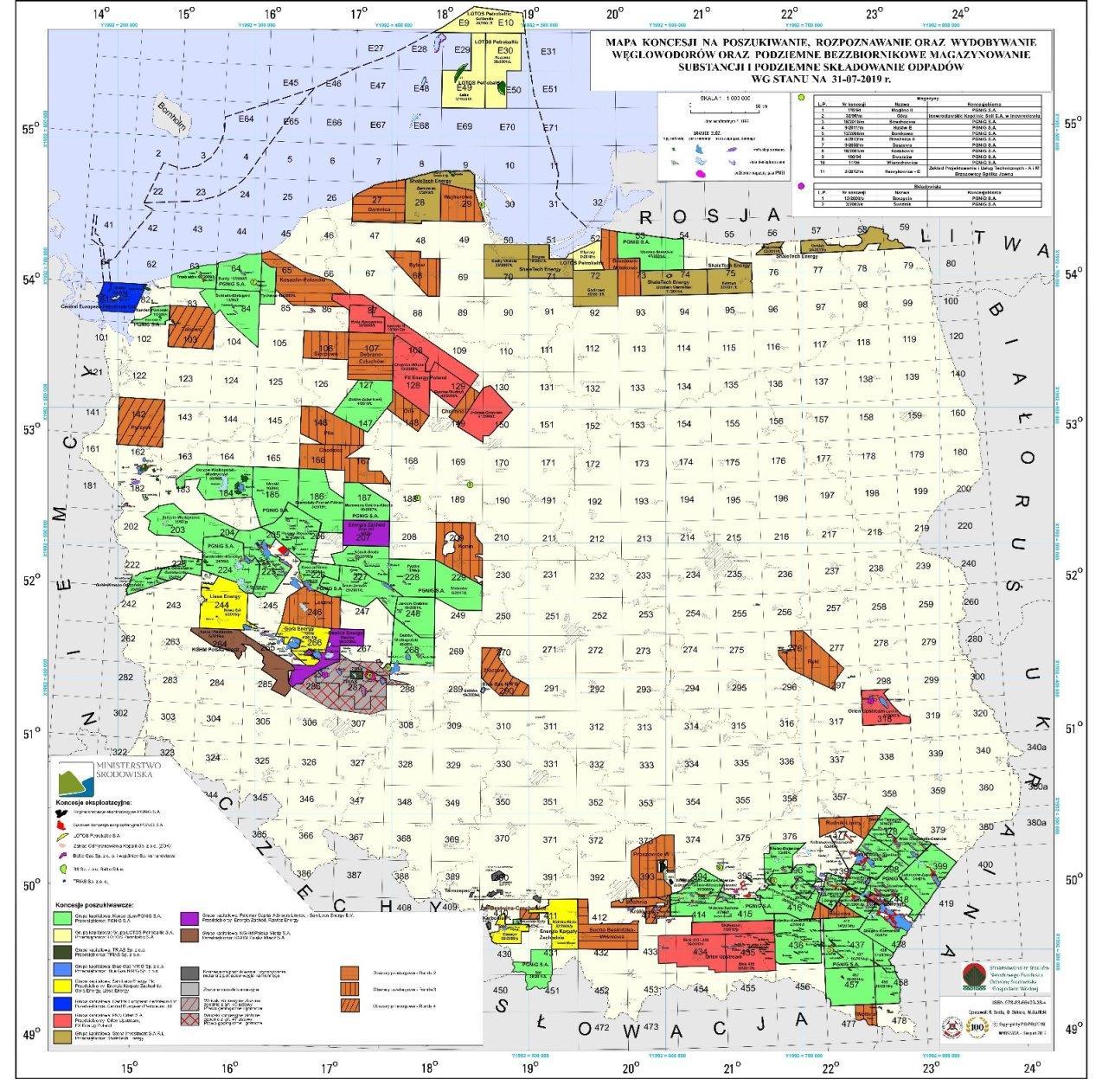 Mapa koncesji na poszukiwanie, rozpoznawanie oraz wydobywanie węglowodorów oraz podziemne bezzbiornikowe magazynowanie substancji i podziemne składowanie odpadów wg stanu na 31.07.2019 r. (PIG-PIB, MŚ, 2019)